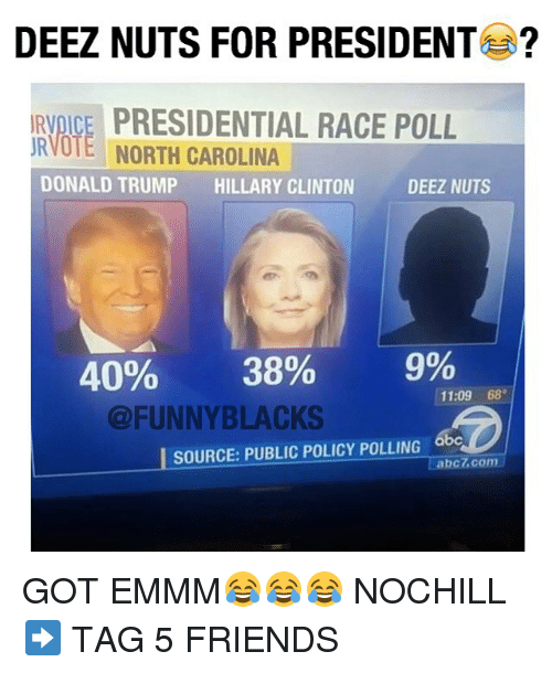 Deeze Nuts: DEEZ NUTS FOR PRESIDENT  IRVDICE PRESIDENTIAL RACE POLL  URVOTE NORTH CAROLINA  DONALD TRUMP  HILLARY CLINTON  DEEZ NUTS  40%  38% 9%  11:09  68  @FUNNYBLACKS  SOURCE: PUBLIC POLICY POLLING abc  Tabc7 com GOT EMMM😂😂😂 NOCHILL ➡️ TAG 5 FRIENDS