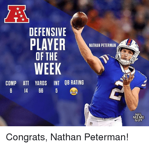 Meme, Nfl, and Att: DEFENSIVE  NATHAN PETERMAN  OF THE  WEEK  COMP ATT YARDS INT QB RATING  6 14 66 5  NFL  MEME  GUY Congrats, Nathan Peterman!