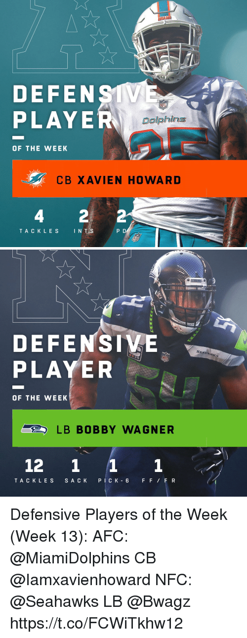 wagner: DEFENSTV  PLAYE  NFI  Dolphins  OF THE WEEK  CB XAVIEN HOWAR D  4  TACKLES INTS  P D   DEFENSIVE  PLAYER  SEAHAw  OF THE WEEK  LB BOBBY WAGNER  12 1 11  TAC K LES S A C K PICK 6 FFFR Defensive Players of the Week (Week 13):  AFC: @MiamiDolphins CB @Iamxavienhoward  NFC: @Seahawks LB @Bwagz https://t.co/FCWiTkhw12