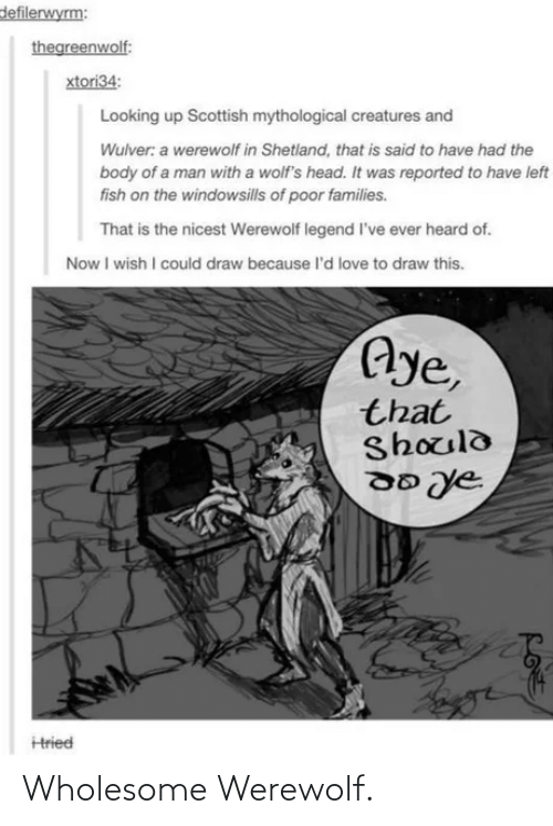 Reported: defilerwyrm:  thegreenwolf:  xtori34:  Looking up Scottish mythological creatures and  Wulver: a werewolf in Shetland, that is said to have had the  body of a man with a wolf's head. It was reported to have left  fish on the windowsills of poor families.  That is the nicest Werewolf legend l've ever heard of.  Now I wish I could draw because l'd love to draw this.  Aye,  that  Should  Hried Wholesome Werewolf.