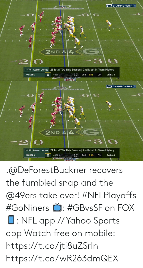 Mobile: .@DeForestBuckner recovers the fumbled snap and the @49ers take over! #NFLPlayoffs #GoNiners  📺: #GBvsSF on FOX 📱: NFL app // Yahoo Sports app Watch free on mobile: https://t.co/jti8uZSrIn https://t.co/wR263dmQEX
