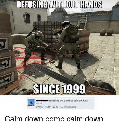 Memes, 🤖, and Down: DEFUSING WITHOUT HANDS  SINCE 1999  He's telling the bomb to calm the fuck  Unlike Reply 45 16 minutes ago Calm down bomb calm down