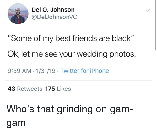 "gam: Del O. Johnson  @DelJohnsonVC  ""Some of my best friends are black""  Ok, let me see your wedding photos.  9:59 AM 1/31/19 Twitter for iPhone  43 Retweets 175 Likes Who's that grinding on gam-gam"