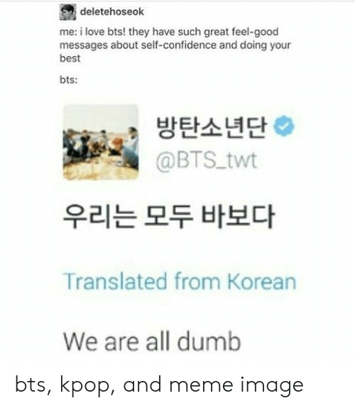 Korean: deletehoseok  me: i love bts! they have such great feel-good  messages about self-confidence and doing your  best  bts:  방탄소년단  @BTS twt  우리는 모두 바보다  Translated from Korean  We are all dumb bts, kpop, and meme image
