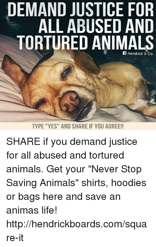 "Memes, Justice for All, and 🤖: DEMAND JUSTICE FOR  ALL ABUSED AND  TORTURED ANIMALS  If Hendrick & Co.  TYPE ""YES"" AND SHARE IF YOU AGREE!! SHARE if you demand justice for all abused and tortured animals.   Get your ""Never Stop Saving Animals"" shirts, hoodies or bags here and save an animas life! http://hendrickboards.com/square-it"