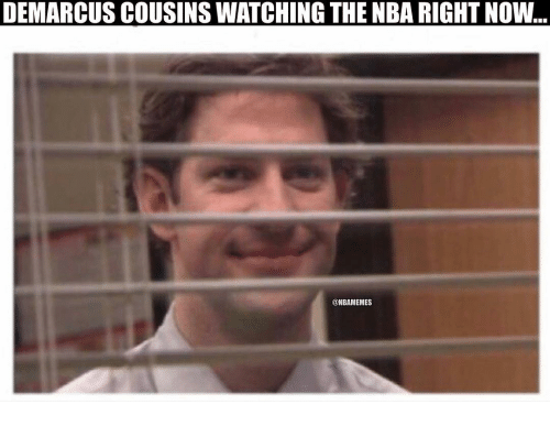 DeMarcus Cousins, Nba, and Cousins: DEMARCUS COUSINS WATCHING THE NBA RIGHT NOW  ..  @NBAMEMES
