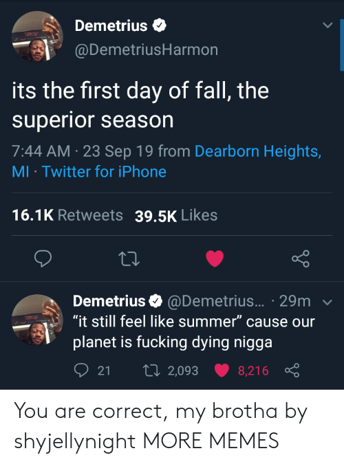 "Heights: Demetrius  @DemetriusHarmon  its the first day of fall, the  superior season  7:44 AM 23 Sep 19 from Dearborn Heights,  MI Twitter for iPhone  16.1K Retweets  39.5K Likes  Demetrius @Demetrius... 29m  ""it still feel like summer"" cause our  planet is fucking dying nigga  t 2,093  21  8,216 You are correct, my brotha by shyjellynight MORE MEMES"