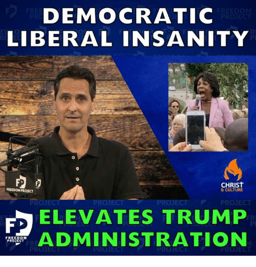 Trump, Freedom, and Insanity: DEMOCRATIC  LIBERAL INSANITY  0  RI  PI  CHRIST  FREEDOM PROJECT  & CULTURE  PROJECT  PROJECT  PROJECT  ELEVATES TRUMP  ADMINISTRATION  PI  FREEDOM  PROJECT  PROJECT  PROJECT