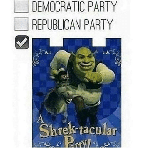 Party, Shrek, and Democratic Party: DEMOCRATIC PARTY  REPUBLICAN PARTY  Shrek raculan