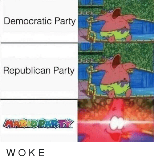 Party, Democratic Party, and Republican Party: Democratic Party  Republican Party W O K E