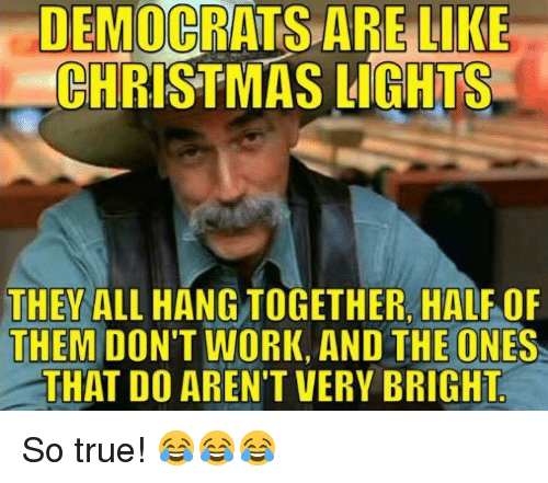 Christmas, True, and Work: DEMOCRATS ARE LIKE  CHRISTMAS LIGHTS  THEY ALL HANG TOGETHER, HALF OF  THEM DON'T WORK, AND THE ONES  THAT DO AREN'T VERY BRIGHT So true! 😂😂😂