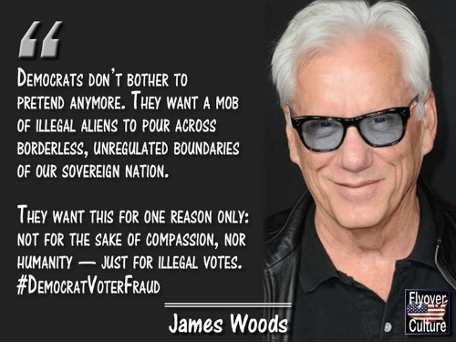 Memes, Aliens, and Compassion: DEMOCRATS DON'T BOTHER TO  PRETEND ANYMORE. IHEY WANT A MOB  OF ILLEGAL ALIENS TO POUR ACROSS  BORDERLESS, UNREGULATED BOUNDARIES  OF OUR SOVEREIGN NATION.  THEY WANT THIS FOR ONE REASON ONLY:  NOT FOR THE SAKE OF COMPASSION, NOR  HUMANITY JUST FOR ILLEGAL VOTES.  #DEMOCRATVOTERFRAUD  Elyover  Culture  James Woods