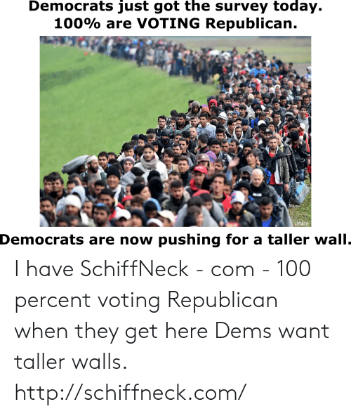 Voting Republican: Democrats just got the survey today.  100% are VOTING Republican  Democrats are now pushing for a taller wall I have SchiffNeck - com - 100 percent voting Republican when they get here Dems want taller walls. http://schiffneck.com/