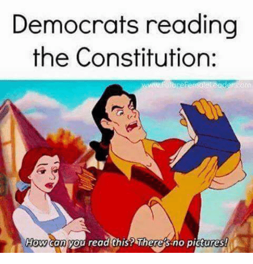 Memes, Constitution, and 🤖: Democrats reading  the Constitution:  Howaan you read this? Theresno pictures!