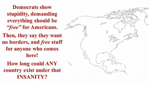 "Free, Stuff, and Insanity: Democrats show  stupidity, demanding  everything should be  ""free"" for Americans.  Then, they say they want  no borders, and free stuff  for anyone who comes  here!  How long could ANY  country exist under that  INSANITY?"