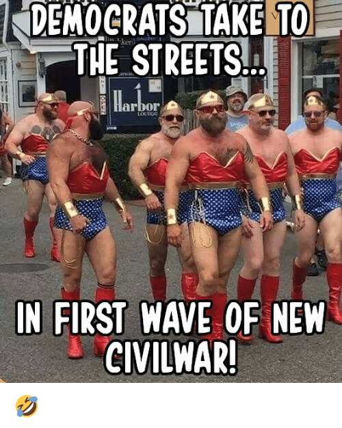 Memes, Streets, and 🤖: DEMOCRATS TAKE TO  THE STREETS.  arbor  IN FIRST WAVE OF NEW  CIVILHAR! 🤣