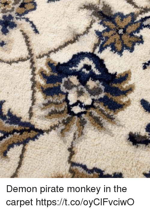 Monkey, Pirate, and Faces-In-Things: Demon pirate monkey in the carpet https://t.co/oyClFvciwO