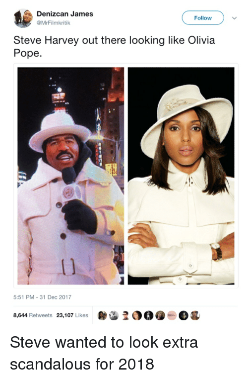 Olivia Pope: Denizcan James  @MrFilmkritik  Follow  Steve Harvey out there looking like Olivia  Pope  1)  5:51 PM-31 Dec 2017  8,644 Retweets 23,107 Likes  OO.  Og Steve wanted to look extra scandalous for 2018