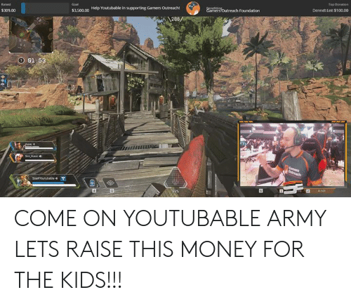 Youtubable: Dennet Lee 3100.00  Help Youtubable in supporting Gamers Outreach  $3.500.00  286  $309.00  81 COME ON YOUTUBABLE ARMY LETS RAISE THIS MONEY FOR THE KIDS!!!