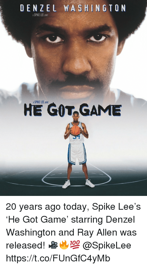 Denzel Washington, He Got Game, and Spike Lee: DENZEL WASHINGTON  ASPIKE LEE JOINT  A SPIKE LEE JOINT  HE GOT,GAME 20 years ago today, Spike Lee's 'He Got Game' starring Denzel Washington and Ray Allen was released! 🎥🔥💯 @SpikeLee https://t.co/FUnGfC4yMb