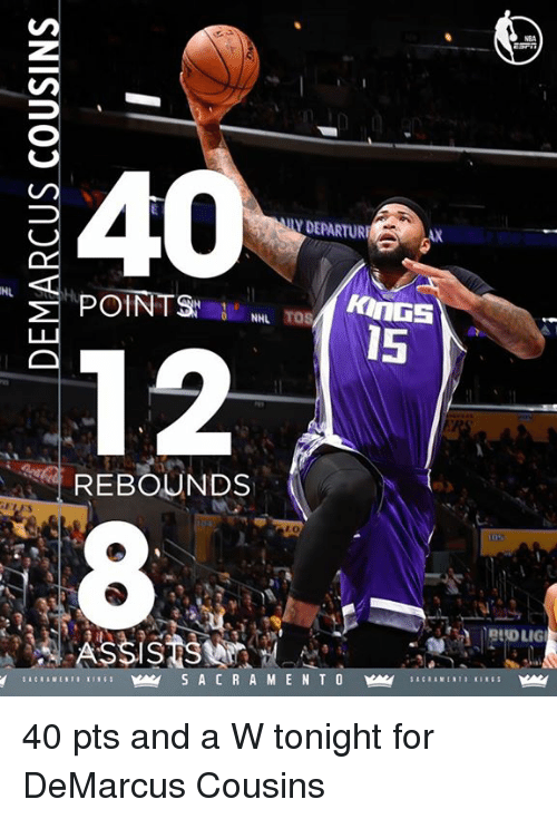 DeMarcus Cousins, Memes, and 🤖: DEPARTURE  POINTS  NHL  15  12  REBOUNDS  SSIS  PADLIG 40 pts and a W tonight for DeMarcus Cousins