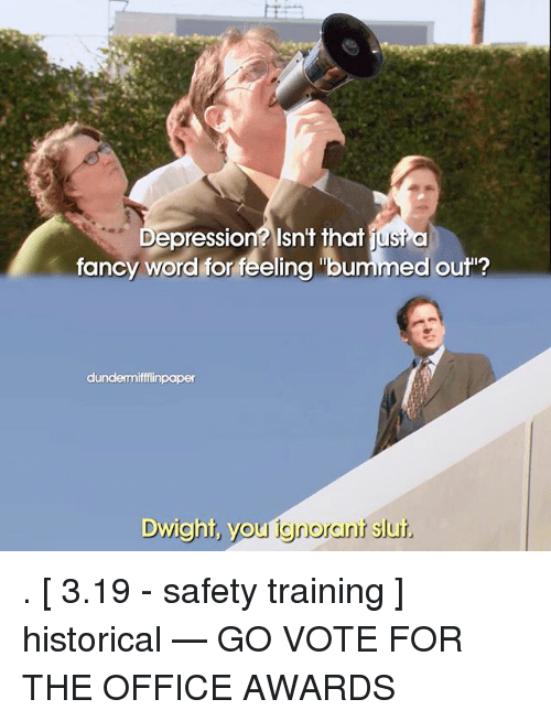 """Memes, The Office, and Depression: Depression? Isn't that just  a  fancy word for feeling """"bummed out""""?  dundermiffflinpaper  Dwight, you ignorourit  slut. . [ 3.19 - safety training ] historical — GO VOTE FOR THE OFFICE AWARDS"""