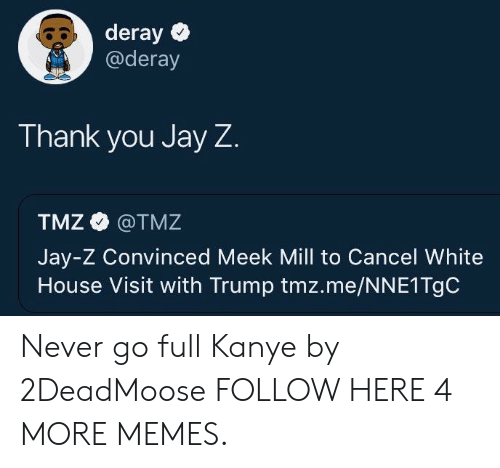 white-house-visit: deray  @deray  Thank you Jay Z  TMZ @TMZ  Jay-Z Convinced Meek Mill to Cancel White  House Visit with Trump tmz.me/NNE1TgC Never go full Kanye by 2DeadMoose FOLLOW HERE 4 MORE MEMES.