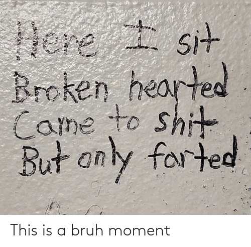 broken hearted: Dere I sit  Broken hearted  Came to shit  But only farted This is a bruh moment