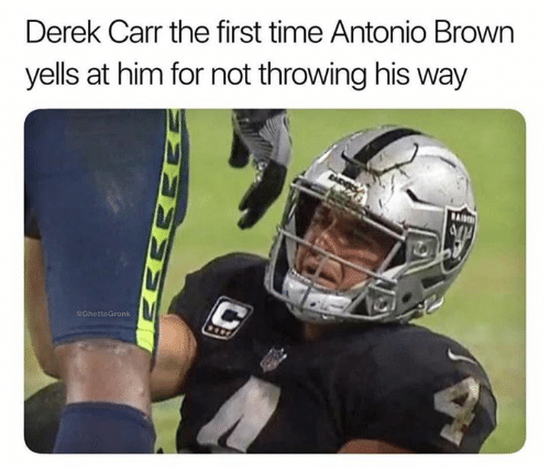 derek carr: Derek Carr the first time Antonio Brown  yells at him for not throwing his way  GhettoGronk