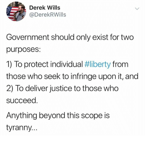 scope: Derek Wills  @DerekRWills  Government should only exist for two  purposes:  1) To protect individual #liberty from  those who seek to infringe upon it, and  2) To deliver justice to those who  succeed  Anything beyond this scope is  tyranny..