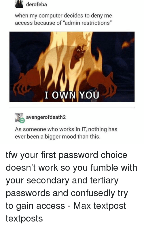 """Memes, Mood, and Tfw: derofeba  when my computer decides to deny me  access because of """"admin restrictions""""  I OWN YOU  avengerofdeath2  As someone who works in IT, nothing has  ever been a bigger mood than this. tfw your first password choice doesn't work so you fumble with your secondary and tertiary passwords and confusedly try to gain access - Max textpost textposts"""