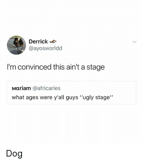 "Memes, Ugly, and 🤖: Derrick  @ayosworldd  I'm convinced this ain't a stage  Mariam @africaries  what ages were y'all guys ""ugly stage Dog"