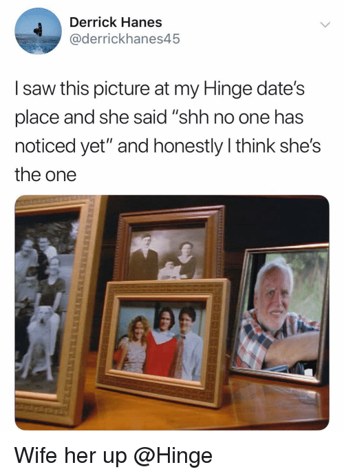 """Funny, Saw, and Wife: Derrick Hanes  @derrickhanes45  I saw this picture at my Hinge date's  place and she said """"shh no one has  noticed yet"""" and honestly think she's  the one Wife her up @Hinge"""