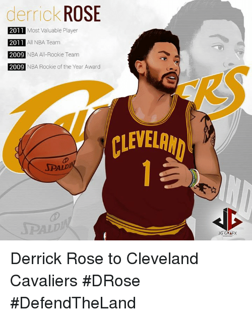 Cleveland Cavaliers, Derrick Rose, and Nba: derrick ROSE  2011 Most Valuable Player  2011  2011 All NBA Team  2 NBA All-Rookie Team  2009  2011  2009 NBA AI-Rookie T  2009  NBA Rookie of the Year Award  CLEVELRN  SPALD  SPAL  JG GRAFX Derrick Rose to Cleveland Cavaliers #DRose #DefendTheLand