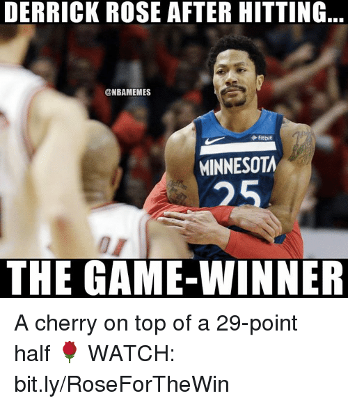 Derrick Rose: DERRICK ROSE AFTER HITTING  @NBAMEMES  fitbit  MINNESOTA  25  THE GAME-WINNER A cherry on top of a 29-point half 🌹  WATCH: bit.ly/RoseForTheWin
