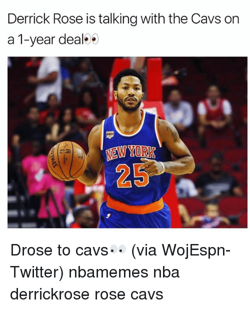 Basketball, Cavs, and Derrick Rose: Derrick Rose is talking with the Cavs on  a 1-year deal  EW YORK  25 Drose to cavs👀 (via WojEspn-Twitter) nbamemes nba derrickrose rose cavs