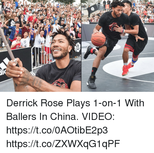 Derrick Rose, Memes, and China: Derrick Rose Plays 1-on-1 With Ballers In China.  VIDEO: https://t.co/0AOtibE2p3 https://t.co/ZXWXqG1qPF