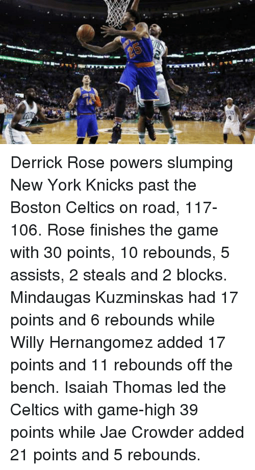 Boston Celtics, Celtic, and Derrick Rose: Derrick Rose powers slumping New York Knicks past the Boston Celtics on road, 117-106.  Rose finishes the game with 30 points, 10 rebounds, 5 assists, 2 steals and 2 blocks. Mindaugas Kuzminskas had 17 points and 6 rebounds while Willy Hernangomez added 17 points and 11 rebounds off the bench.  Isaiah Thomas led the Celtics with game-high 39 points while Jae Crowder added 21 points and 5 rebounds.