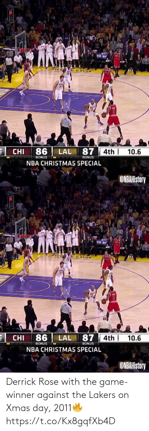 Los Angeles Lakers: Derrick Rose with the game-winner against the Lakers on Xmas day, 2011🔥  https://t.co/Kx8gqfXb4D
