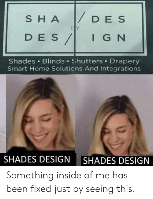 shades: DES  SHA  BY  DES/  IGN  Shades Blinds Shutters Drapery  Smart Home Soluticns And Integrations  SHADES DESIGN  SHADES DESIGN Something inside of me has been fixed just by seeing this.