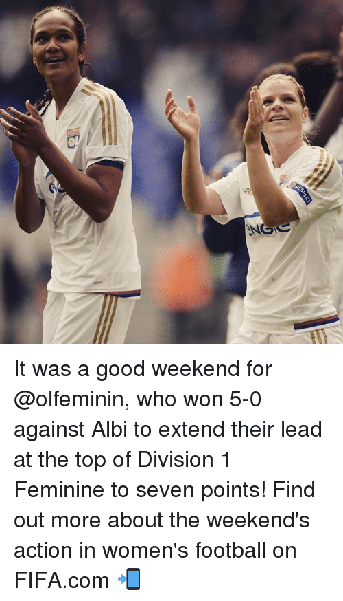 spect: DES  SPECT It was a good weekend for @olfeminin, who won 5-0 against Albi to extend their lead at the top of Division 1 Feminine to seven points! Find out more about the weekend's action in women's football on FIFA.com 📲