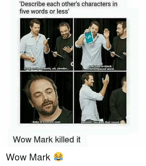Memes, Wow, and Word: 'Describe each other's characters in  five words or less'  And Cladin-block.  Bardonk, uh, slender.  Arldmcompound word.  that round.  Baby in trenchcoat.  Dommirl You W  Wow Mark killed it Wow Mark 😂