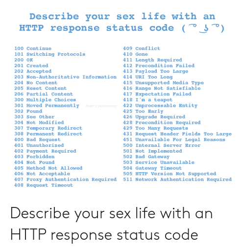 reset: Describe your  sex life with an  HTTP response status code (° J°)  100 Continue  409 Conflict  101 Switching Protocols  410 Gone  411 Length Required  200 OK  412 Precondition Failed  201 Created  202 Accepted  413 Payload Too Large  414 URI Too Long  203 Non-Authoritative Information  415 Unsupported Media Type  416 Range Not Satisfiable  417 Expectation Failed  418 I'm a teapot  422 Unprocessable Entity  425 Too Early  426 Upgrade Required  428 Precondition Required  429 Too Many Requests  431 Request Header Fields Too Large  451 Unavailable For Legal Reasons  204 No Content  205 Reset Content  206 Partial Content  300 Multiple Choices  301 Moved Permanently  @matijakomesar  302 Found  303 See Other  304 Not Modified  307 Temporary Redirect  308 Permanent Redirect  400 Bad Request  401 Unauthorized  500 Internal Server Error  402 Payment Required  403 Forbidden  501 Not Implemented  502 Bad Gateway  503 Service Unavailable  404 Not Found  504 Gateway Timeout  505 HTTP Version Not Supported  511 Network Authentication Required  405 Method Not Allowed  406 Not Acceptable  407 Proxy Authentication Required  408 Request Timeout Describe your sex life with an HTTP response status code