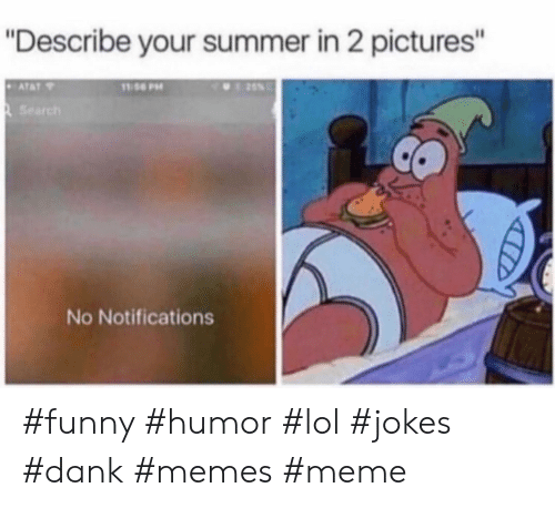 "Dank Memes: ""Describe your summer in 2 pictures'""  Search  No Notifications #funny #humor #lol #jokes #dank #memes #meme"