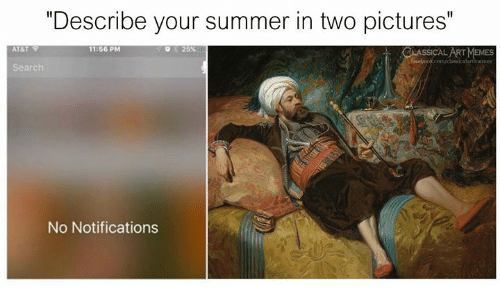 """Summer, Pictures, and Classical Art: """"Describe your summer in two pictures""""  11:56 PM  25%  No Notifications"""