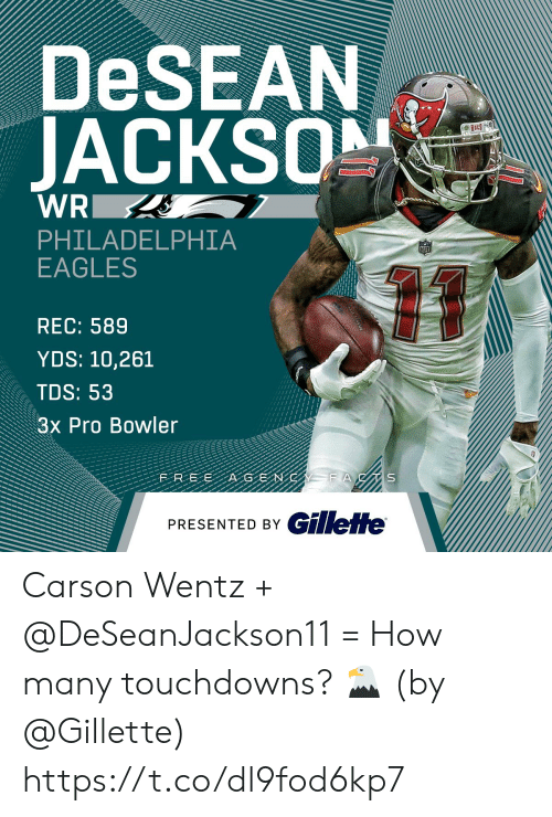 gillette: DeSEAN  JACKS  PHILADELPHIA  EAGLES  REC: 589  YDS: 10,261  TDS: 53  3x Pro Bowler  PRESENTED BY GillefHe Carson Wentz + @DeSeanJackson11 = How many touchdowns? 🦅  (by @Gillette) https://t.co/dl9fod6kp7