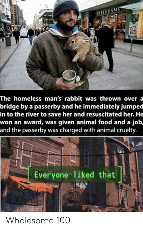 Was Given: DESENHAMS  30  The homeless man's rabbit was thrown over a  bridge by a passerby and he immediately jumped  in to the river to save her and resuscitated her. He  won an award, was given animal food and a job,  and the passerby was charged with animal cruelty.  Everyone 1iked that Wholesome 100