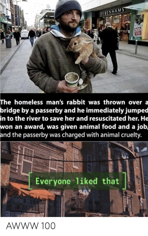 Was Given: DESENHAMS  30  The homeless man's rabbit was thrown over a  bridge by a passerby and he immediately jumped  in to the river to save her and resuscitated her. He  won an award, was given animal food and a job,  and the passerby was charged with animal cruelty.  Everyone 1iked that AWWW 100
