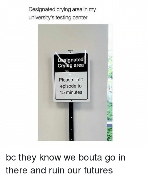 Crying, Girl Memes, and Futures: Designated crying area in my  university's testing center  ignated  Crying area  Please limit  episode to  15 minutes bc they know we bouta go in there and ruin our futures