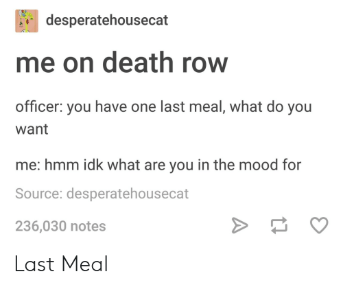 Last Meal: desperatehousecat  me on death row  officer: you have one last meal, what do you  want  me: hmm idk what are you in the mood for  Source: desperatehousecat  236,030 notes Last Meal